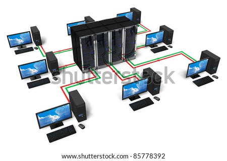Network and internet communication concept isolated on white background - stock photo