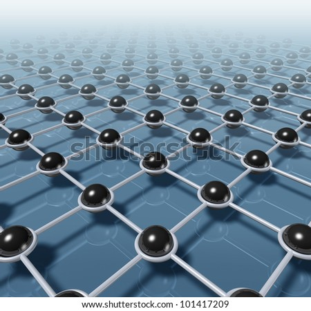 Network and networking technology and business of communication concept with black spheres connected by linked by a built structure of internet web pattern representing teamwork. - stock photo