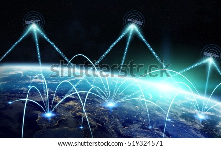 Network and satellite data exchange over planet earth in space 3D rendering elements of this image furnished by NASA