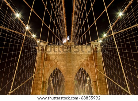 Network and symmetry of Brooklyn Bridge suspension cables - stock photo