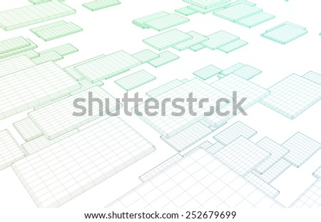 Network Architecture of the Internet and Data Exchange - stock photo