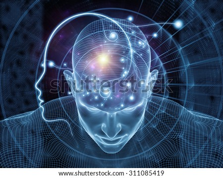 Network Avatar series. Backdrop of human heads, lights and grids on the subject of science, artificial intelligence and technology - stock photo
