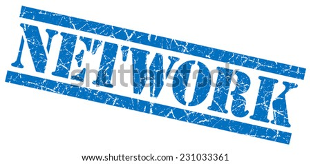 network blue grungy stamp on white background - stock photo