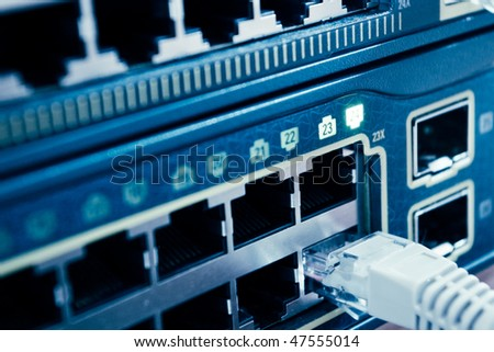 Network cable connected to a switch - stock photo
