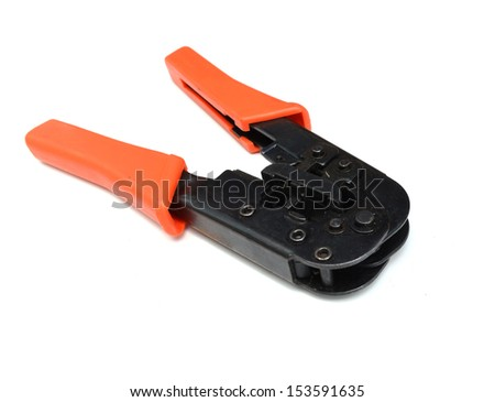 Network cable crimper isolated on white background - stock photo