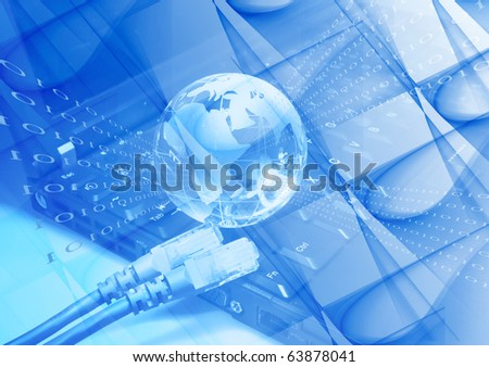 network cable on a laptop keyboard - stock photo