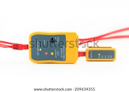 Network cable tester isolated on white background