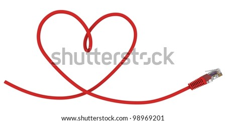 Network cable twisted in the shape of the heart. 3d rendering - stock photo