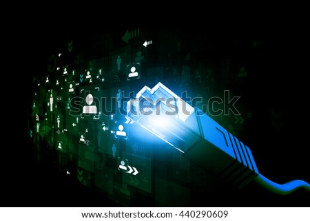 Network cable with fiber optic. Binary cod - stock photo