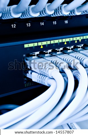 network cables connected to a switch and patch-panel