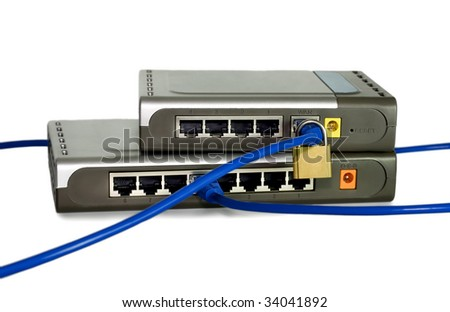 Network cables is run through a lock connected to switch or router concepts isolated on white background - stock photo