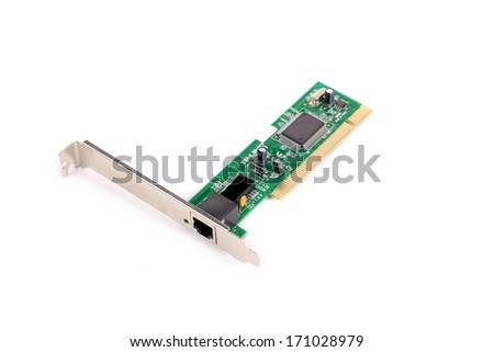 Network Card close up. Isolated on a white background.