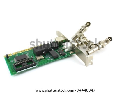 Network card for computer over white - stock photo