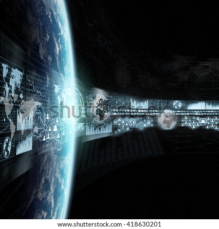 Network, charts and graphs connections over planet earth 'elements of this image furnished by NASA' - stock photo