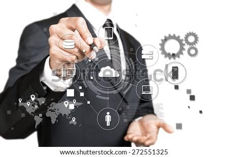 Network, cloud, plan. - stock photo