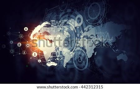Network community concept . Mixed media - stock photo