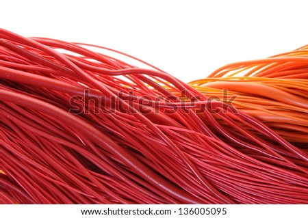 Network computer cable isolated on white background - stock photo