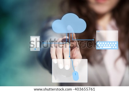 Network concept - Businesswoman touching cloud computing icon on touch screen. - stock photo