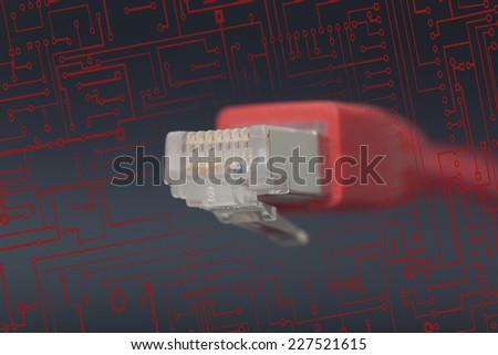 Network conexion in black background - stock photo