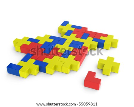 network connection created by tetris game shapes - stock photo