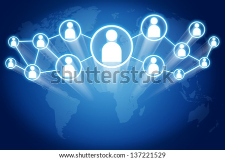 network connections with motion trails concept on blue background with world map - stock photo