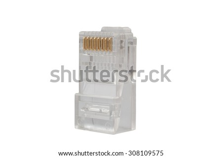 Network Connector close-up isolated on white background - stock photo