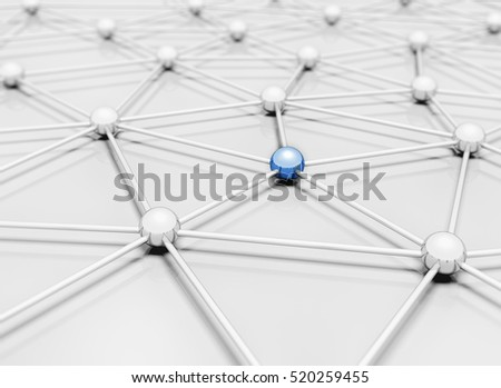 Network 3d illustration single blue sphere standing out