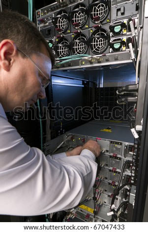 Network engineer solve the communication problem - stock photo