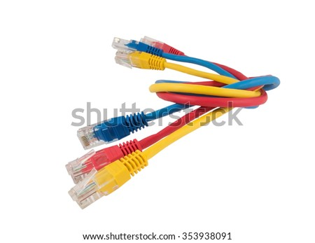 Network Ethernet Cable Over White Background - stock photo