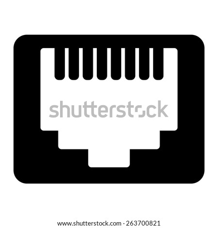Network Ethernet port. Network router or switch icon. - stock photo