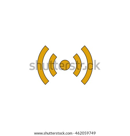 network Flat yellow thin line pictogram on white background. Illustration icon