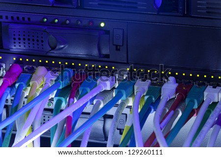 Network hub and server rack with connection cables toned in blue color - stock photo