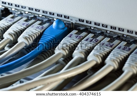 network hub with a lot of connected wires - stock photo