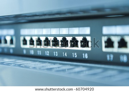 network hub without patch cables - stock photo