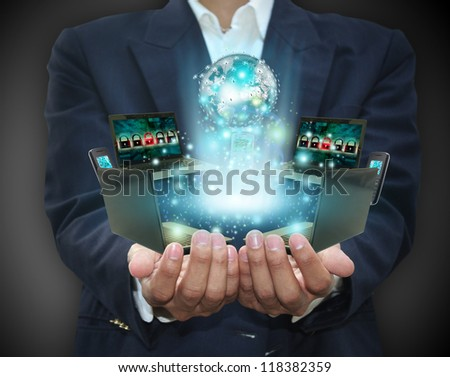 Network in hand - stock photo