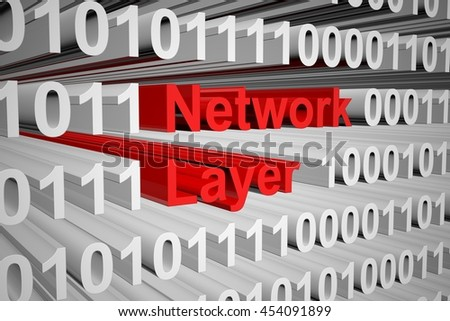 Network layer in the form of binary code, 3D illustration