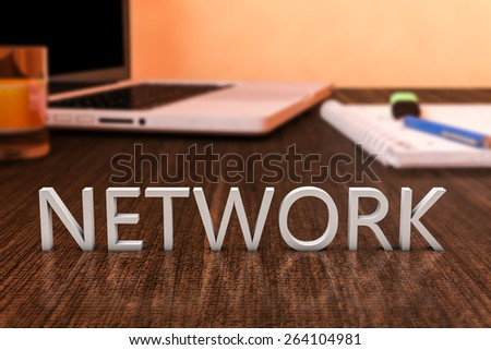 Network - letters on wooden desk with laptop computer and a notebook. 3d render illustration. - stock photo
