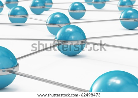 Network made out of blue balls close-up