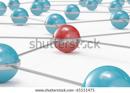 Network made out of blue balls with red one standing out close-up