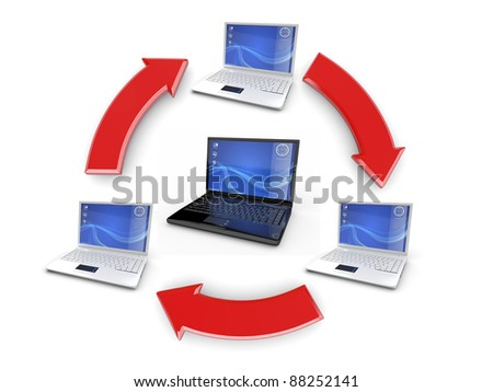 Network. Many laptop on white background. 3d