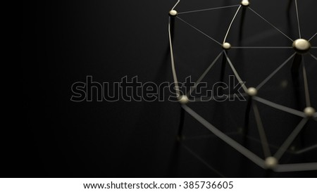 Network, networking, connect, wire. Linking entities. Networking of gold wires on black ground.