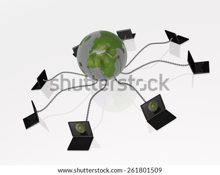 Network - notebooks and globe on black background. - stock photo