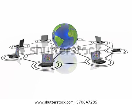 Network - notebooks and globe on black background. - stock photo