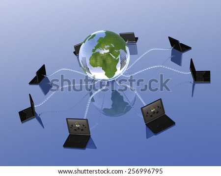 Network - notebooks and globe on blue background.
