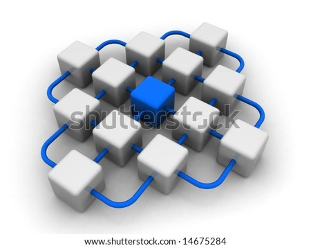 Network of cubes with one different blue