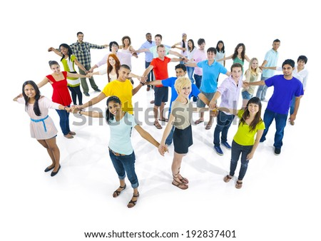 Network of extremely diverse group of young people from around the World. - stock photo