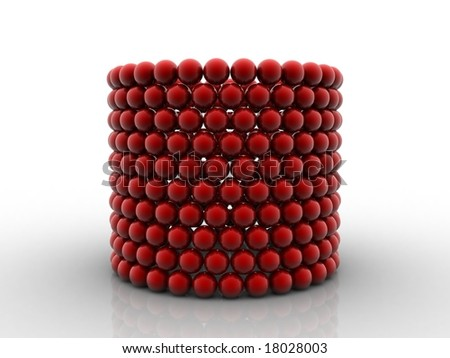 Network of red balls