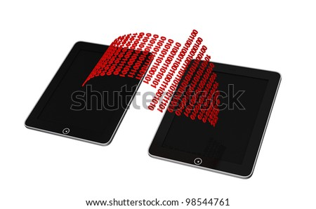 network of two tablet pc's connected wirelessly - stock photo