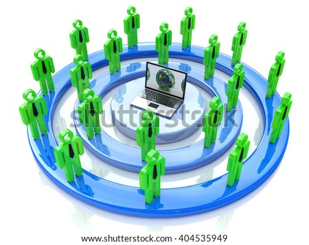 Network or social media concept.3D Illustration - stock photo