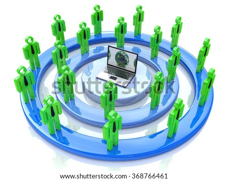 Network or social media concept in the design of information related to communication and people - stock photo